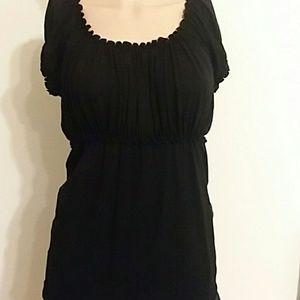 Black ruffle blouse